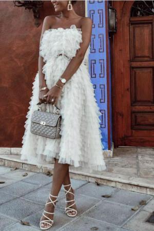 Layered Ruffle Bandeau Dress