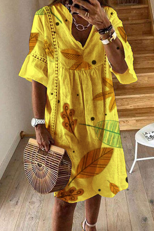 Print Lace V-neck Half Sleeves Dress