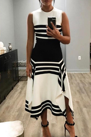 Striped Slit Sleeveless Wrap Dress