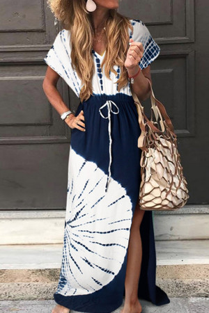 V-neck Slit  Smocked Printed Dress