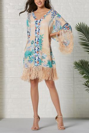 V-Neck Print Tassel Dress