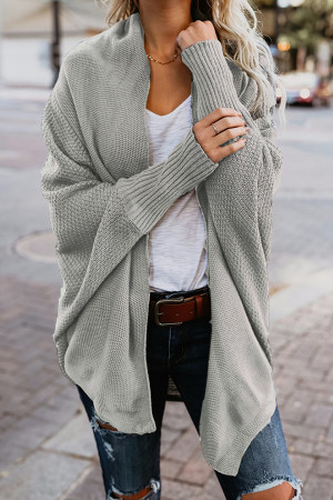 Plain Bat Sleeve Cardigan Sweater
