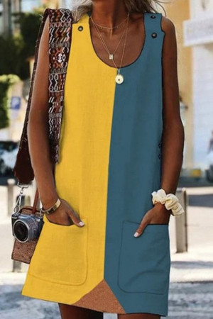 Color-block Pocket Casual Dress