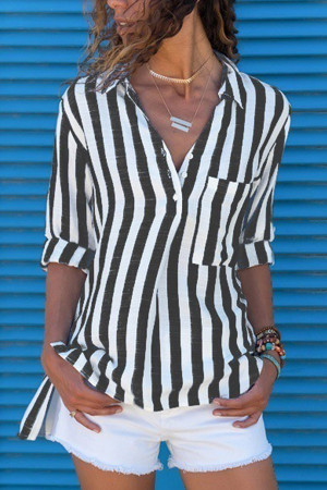 Stripe V-neck Pocket Blouse