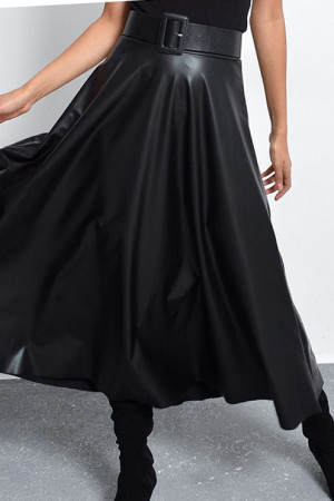 Pleated PU String Skirt