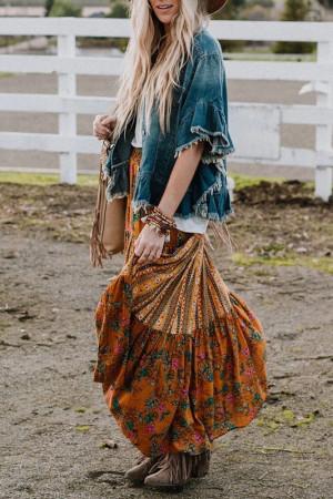 Print Pleated Long Skirt