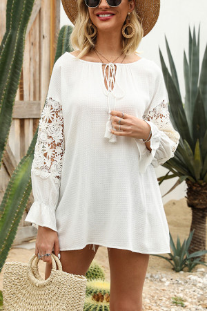 White Hollow Sleeves Dress
