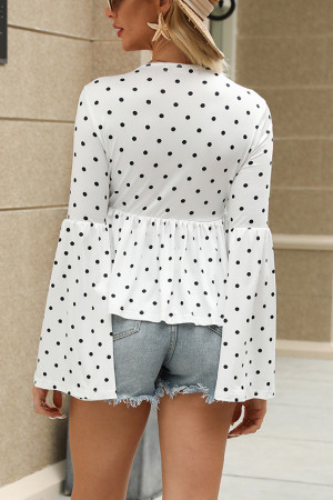 Plunging Neck Tie Front Blouse