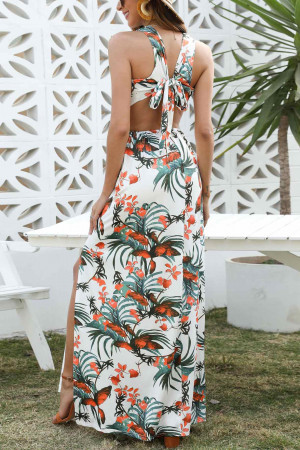 Print Split Maxi Dress