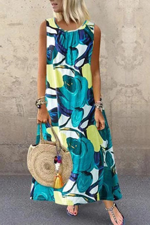 Printed Sleeveless Round Collar Dress