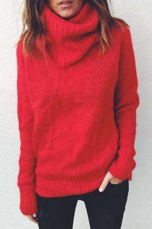 High Neck Solid Sweater