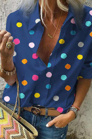 Collar Polka Dot Blouse