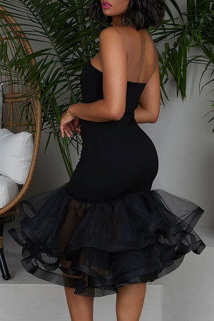 Strapless Ruffled Bandeau Dress