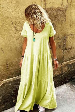 Solid Scoop Ruffled Tunic Dress