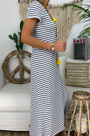 Casual Scoop Striped Tee Dress