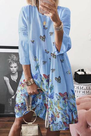 Butterfly Print Long-sleeve Dress