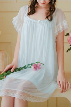 Lace Trim Mesh Nightdress