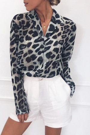 Leopard Print Chiffon Blouse