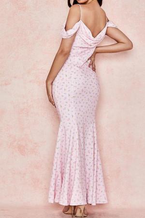 Off Shoulder Printed Mermaid Dress
