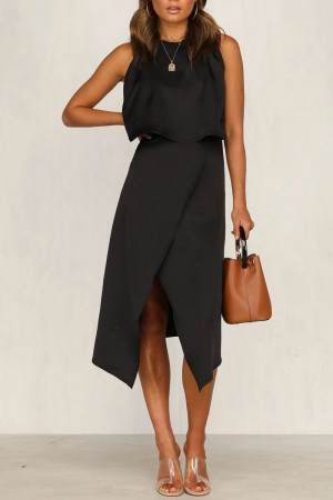 Backless Asymmetrical Slit Two Pieces