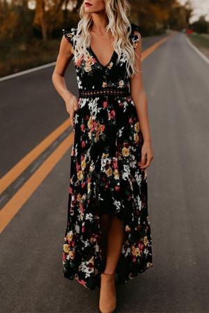 Backless Floral Print Dress