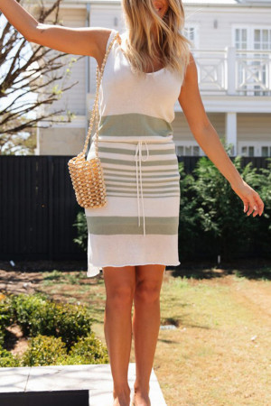 Backless Lace Up Sleeveless Dress