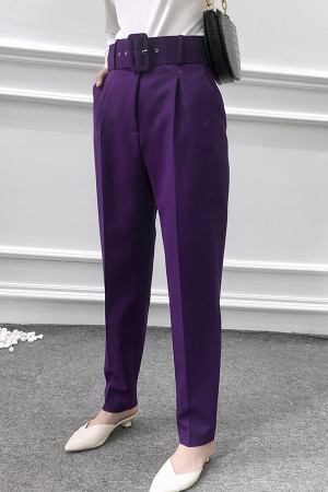 Belt Tapered Pleated Pants