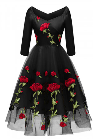 Rose Embroidered Homecoming Dress