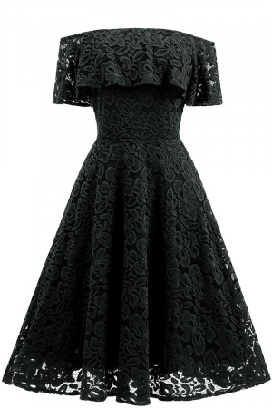 Lace Off-the-shoulder Ruffled Dress