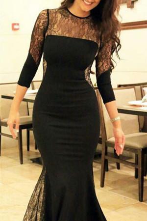 Black Lace Mermaid Dress