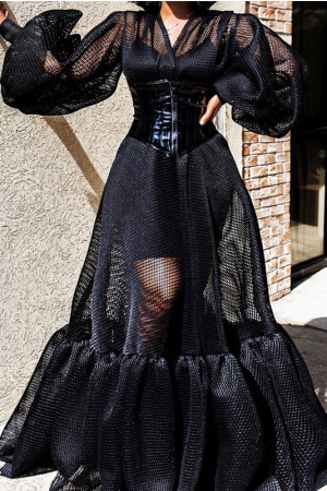 Black Mesh Lantern Dress