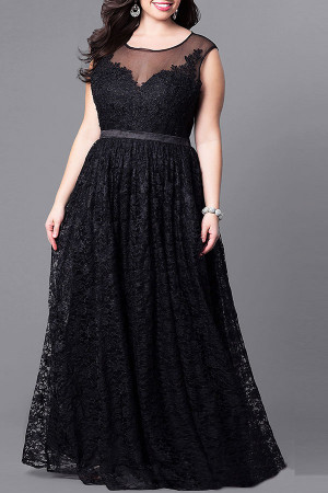 Black Mesh Panel Lace Dress