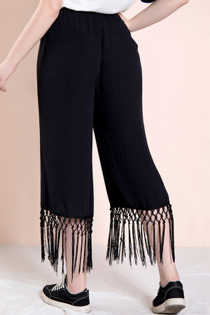 Black Tassel Plus Size Pants