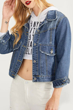 Blue Ripped Denim Coat