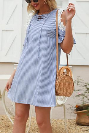 Blue Striped Drawstring Dress