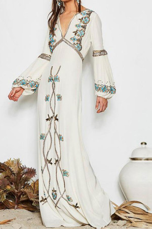 Boho Embroidered Maxi Dress