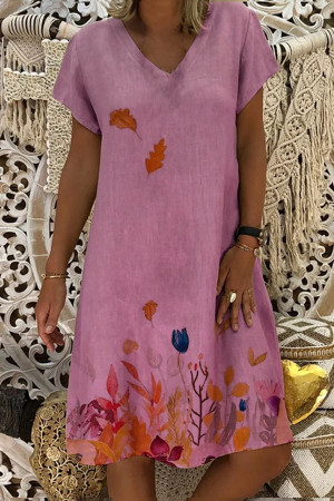 Boho Print V-neck Dress