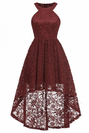 High Low Cut Out Lace Dress
