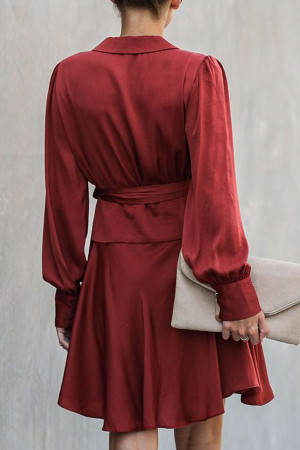 Burgundy Lace-up Wrap Dress