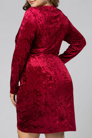 Burgundy V-neck Asymmetric Dress