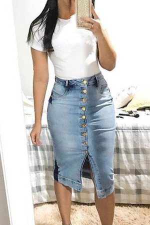 Buttoned Denim Butt-wrap Skirt
