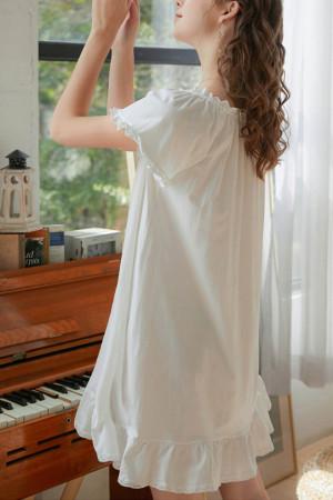 White Cotton Pajama Dress