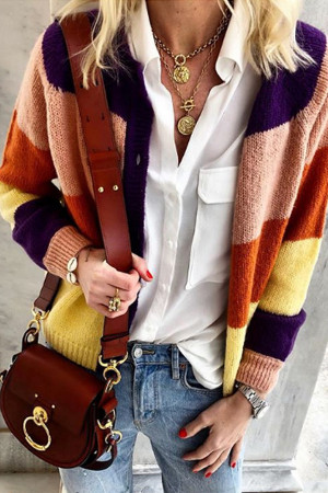 Casual Buttons Color-block Cardigan
