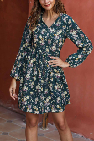 Casual Floral Long Sleeve Dress