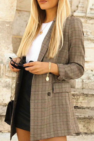 Casual Plaid Loose Blazer