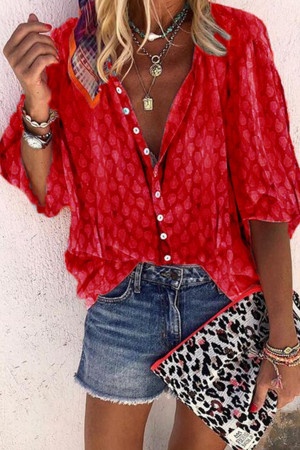 Casual Print Buttons Blouse