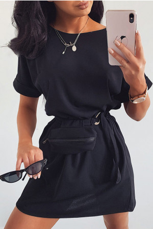 Casual Scoop Dress With Belt