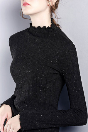 Casual Solid Knit Sweatshirt