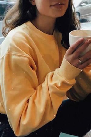 Casual Solid Scoop Sweatshirt
