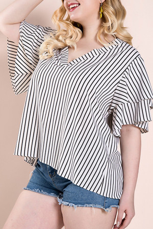 Casual Striped Ruffles Blouse